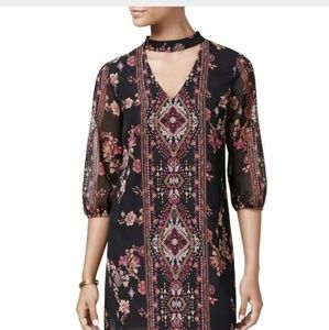 BCX Gorgeous sheer Floral choker dress